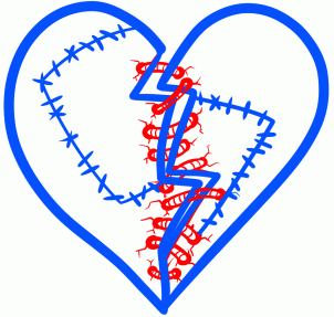 How to Draw a Stitched Heart шаг 4