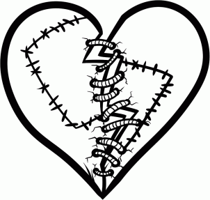 How to Draw a Stitched Heart шаг 5